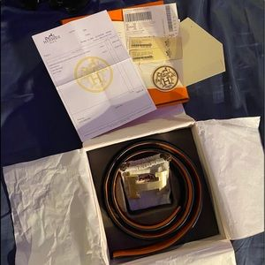 Hermès reversible leather belt and buckle